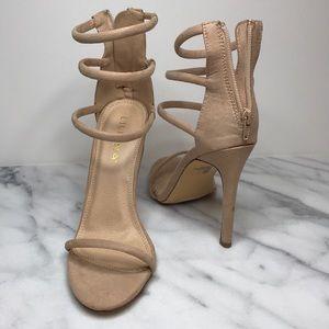 Nude faux suede Liliana sandal heels size 7.5